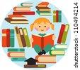 vector illustration of school girl reading on pile of books - stock vector