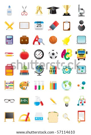 Vector illustration of school objects, big collection