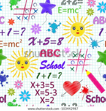 Vector illustration of school seamless pattern with different  elements