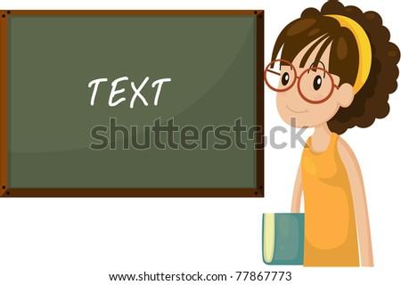 Vector illustration of schoolgirl and blackboard. - stock vector