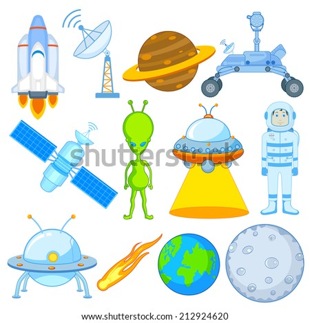 vector illustration of science and space icon set - stock vector