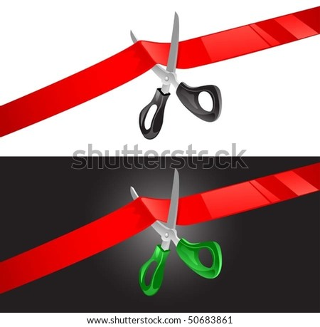 vector illustration of scissors cutting red ribbon - stock vector
