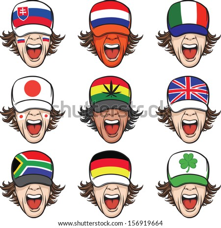 Vector illustration of screaming faces with flags on caps. Easy-edit layered vector EPS10 file scalable to any size without quality loss. High resolution raster JPG file is included.  - stock vector