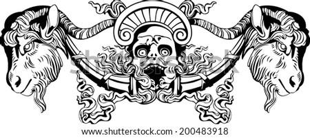 Vector illustration of screaming goat-horned devil against on  white background - stock vector