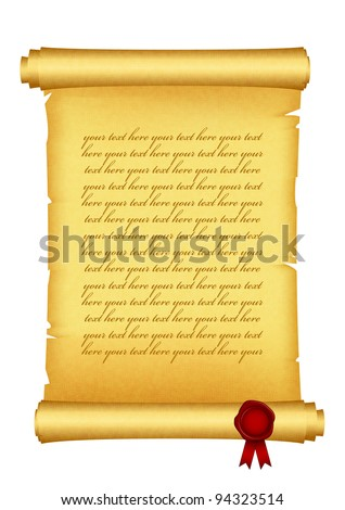 Vector illustration of scroll with red wax seal - stock vector