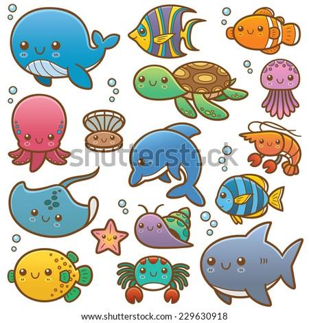 Vector Illustration of Sea animals Cartoon - stock vector