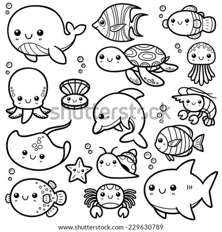 vector illustration sea animals cartoon coloring stock vector 229630789 shutterstock. Black Bedroom Furniture Sets. Home Design Ideas