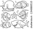 Vector illustration of Sea Animals Collection - Coloring book - stock photo