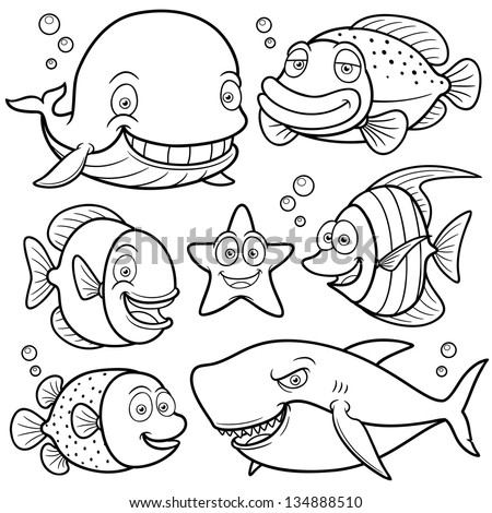 Vector illustration of Sea Animals Collection - Coloring ...