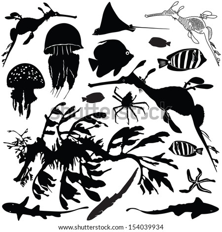 Vector illustration of sea animals silhouettes set