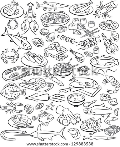 vector illustration of sea food collection in black and white - stock vector