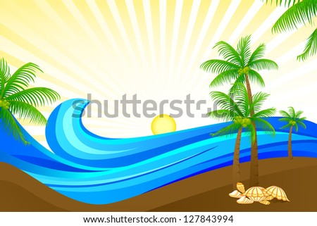 vector illustration of sea wave in beach with palm tree