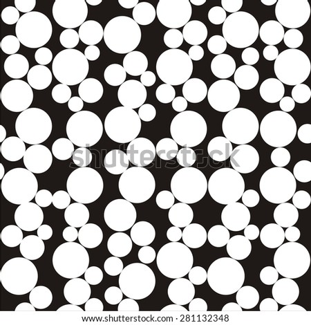 Vector illustration of seamless abstract black-and-white pattern with circles - stock vector
