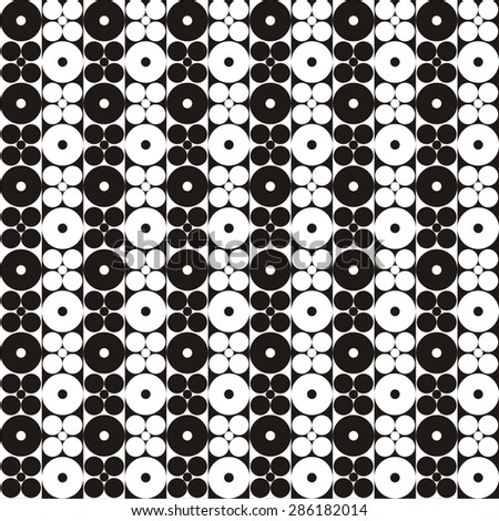 Vector illustration of seamless black-and-white abstract pattern with circles - stock vector