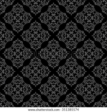 Vector illustration of seamless damask pattern in black and gray colors. - stock vector