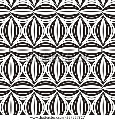 Vector illustration of seamless decorative black-and-white pattern