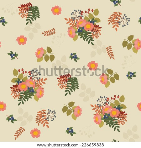 Vector illustration of seamless floral pattern. Stylized leaves, flowers and berries on a beige background - stock vector