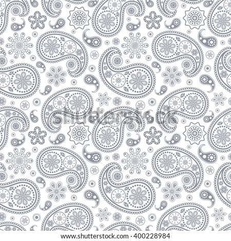 Vector illustration of seamless paisley pattern - stock vector