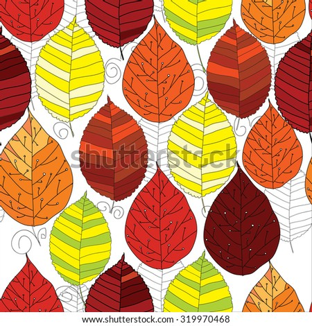 Vector illustration of seamless pattern autumn  leaf with graphic on white background.