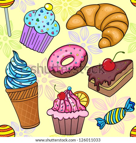 Vector illustration of seamless pattern of sweets