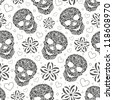 Vector illustration of seamless pattern with abstract floral skulls - stock vector