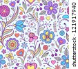 Vector illustration of seamless pattern with abstract flowers.Floral background - stock photo