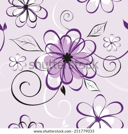 Vector illustration of seamless pattern with abstract flowers. Floral background