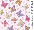 Vector illustration of seamless  pattern with colorful  butterflies - stock vector