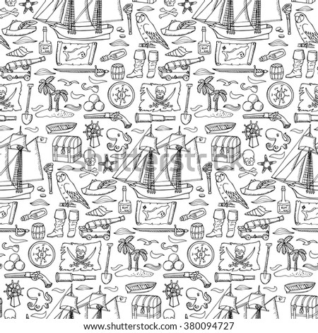 Vector illustration of seamless pattern with doodle hand drawn pirate elements