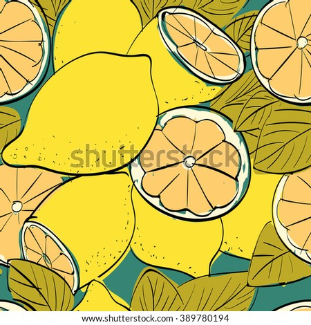 Vector illustration of seamless pattern with lemons. Limited color linear graphic: green, yellow, black. Hand drawing. Good for textile printing.Perfect for wrapping paper, etc.
