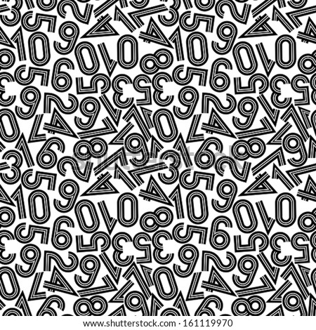 Vector illustration of seamless pattern with numbers. Abstract alphabet background. Retro style stripy numerals, black and white version.