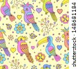 Vector illustration of seamless pattern with tropical birds - toucans and parrots - stock vector
