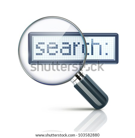 Vector illustration of search concept with magnifying glass - stock vector