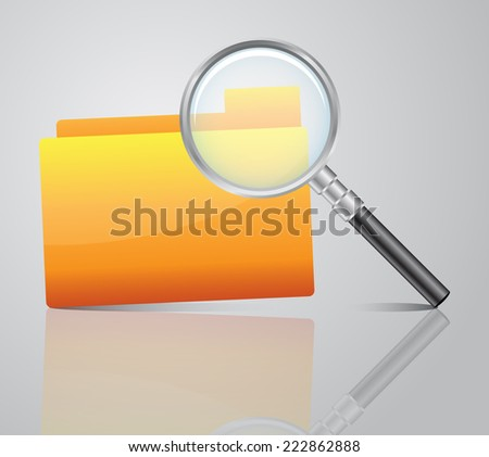 Vector illustration of search concept with yellow folder icon and magnifying glass - stock vector