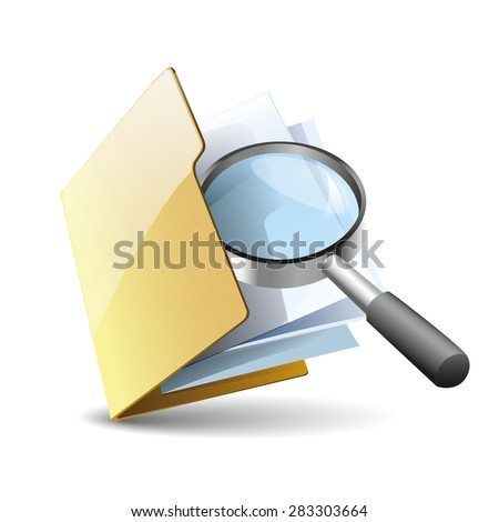 Vector illustration of search concept with yellow folder with paper  icon and magnifying glass, isolated on white background - stock vector