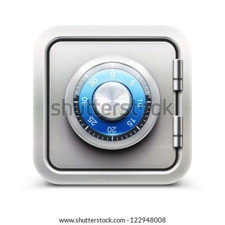 Vector illustration of security concept with metal safe icon - stock vector
