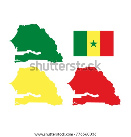 Vector Illustration Senegal Map Flag Stock Vector - Senegal map vector
