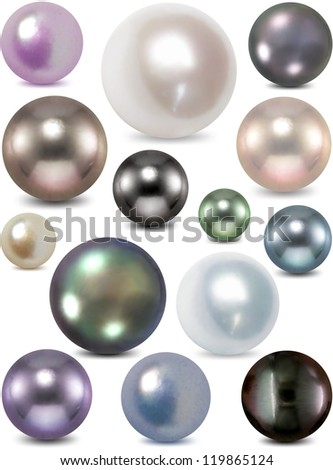 Vector illustration of set colorful pearls - stock vector