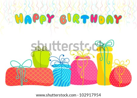 vector illustration of set of colorful gift with birthday banner - stock vector