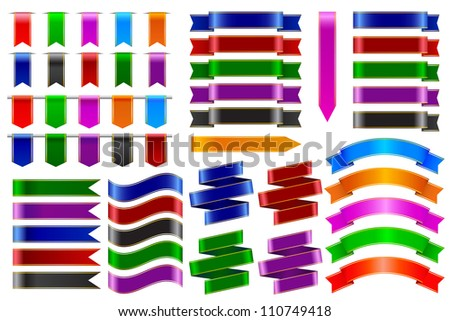 vector illustration of set of colorful ribbon banner - stock vector
