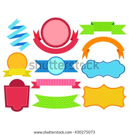 Vector Illustration of Set of Colorful Ribbon Label