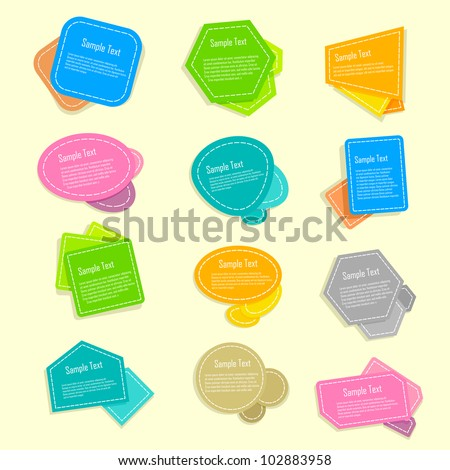 vector illustration of set of colorful speech bubble - stock vector