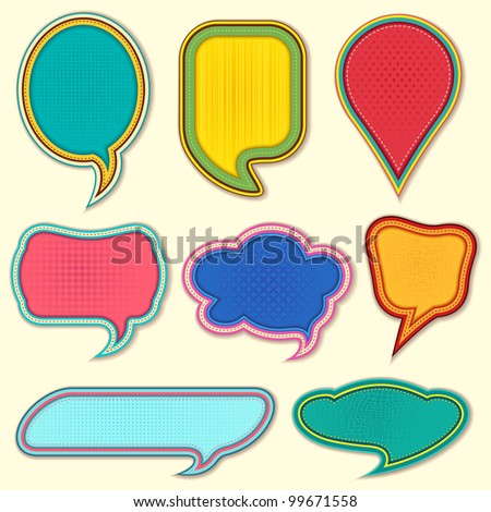 vector illustration of set of colorful speech bubble on isolated background - stock vector