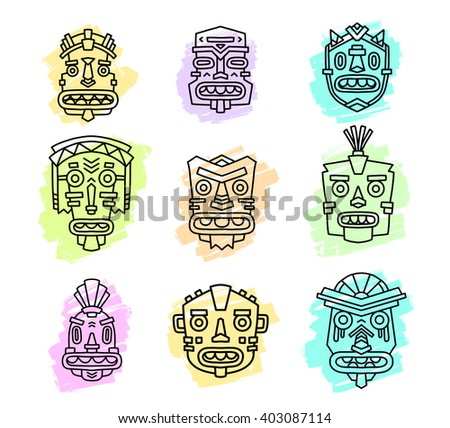 Vector illustration of set of ethnic tribal colorful masks isolated on white background. Hand drawn line art design.  - stock vector