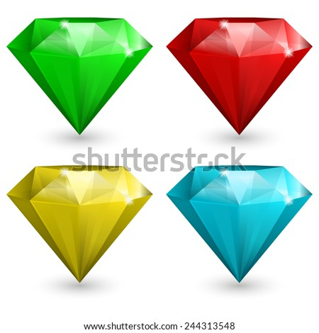 Vector illustration of Set of gems in different color - stock vector