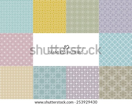Vector illustration of  Set of geometric seamless patterns - stock vector