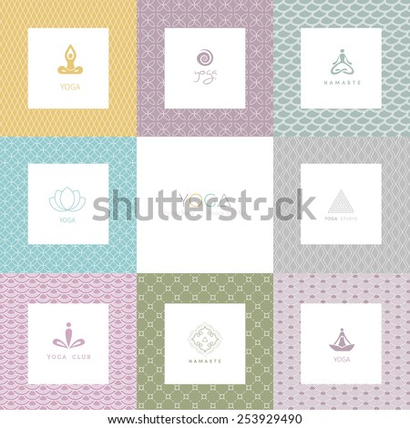 Vector illustration of Set of logos and patterns for a yoga studio - stock vector
