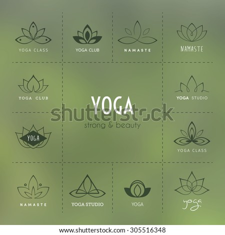 Vector illustration of Set of logos for a yoga studio - stock vector