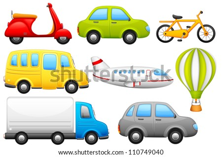 vector illustration of set of means of transport