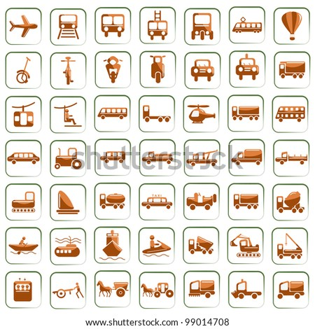 vector illustration of set of means of transport icon against isolated background - stock vector